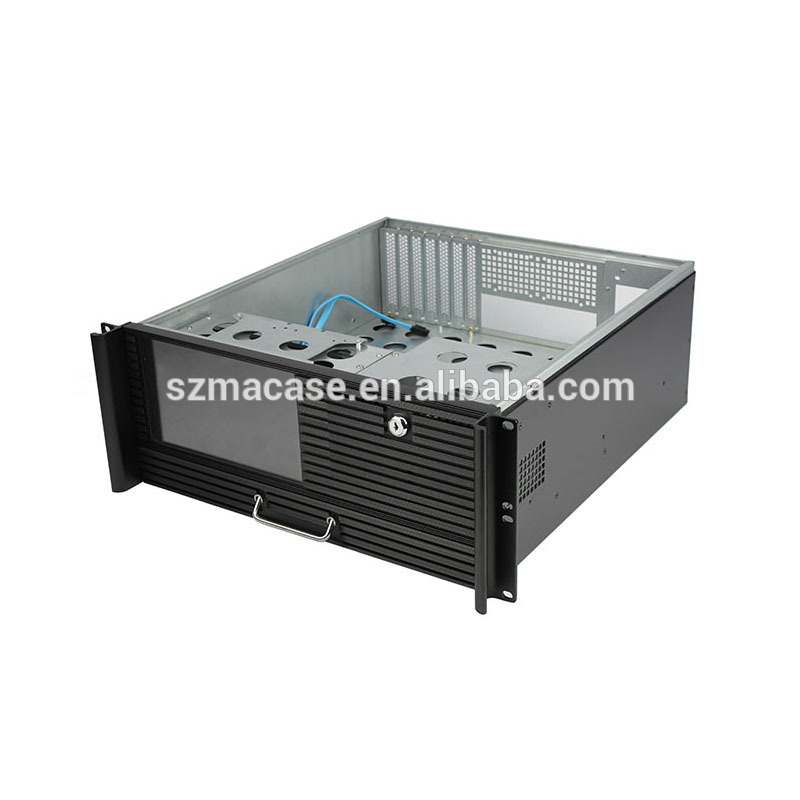 4U 19inch Rackmount server case with LCD Industrial chassis with touch screen and keyboard