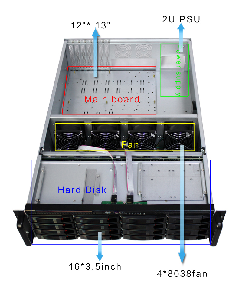 8bay 16 bays Hot Swap OEM 3u 19 inch  rackmount Industrial Server chassis with high storage  net working  case